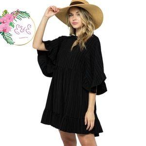 🌸 CES FEMME Stripe Print Woven Babydoll Dress